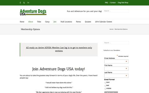 Screenshot of Signup Page adventuredogsusa.com - Join Adventure Dogs USA today   Adventure Dogs USA - captured Sept. 30, 2014