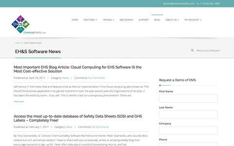 Screenshot of Blog chemicalsafety.com - EH&S Software News - captured Sept. 22, 2017