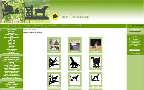 Screenshot of Products Page animalbrackets.co.uk - Weathervanes | Hanging Basket Brackets | Hanging Signs | The Profiles Range - captured Oct. 4, 2014