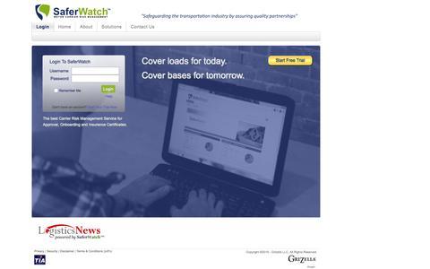 Screenshot of Home Page Login Page saferwatch.com - SaferWatch - Carrier Monitoring and Risk Management - captured Nov. 13, 2016