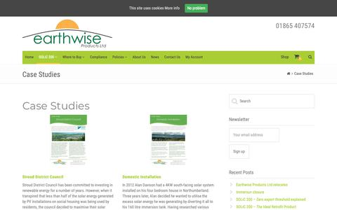 Screenshot of Case Studies Page earthwiseproducts.co.uk - Case Studies – Earthwise Products - captured Sept. 26, 2018
