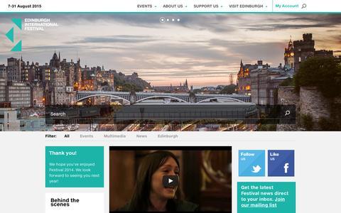 Screenshot of Home Page eif.co.uk - Edinburgh International Festival - captured Sept. 19, 2014
