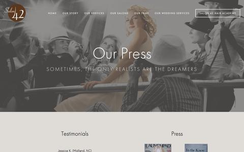 Screenshot of Press Page salonfortytwo.com - Our Press — Salon 42 - captured Nov. 18, 2016