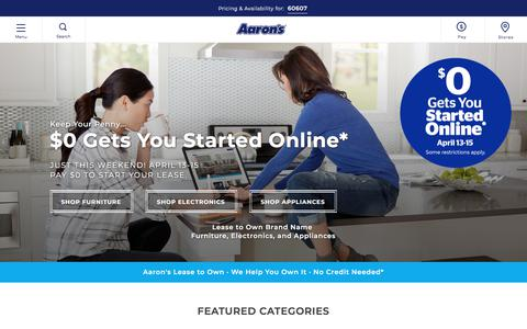 Screenshot of Home Page aarons.com - Aaron's: Rent to Own Furniture, Electronics, Appliances | Aaron's - captured April 15, 2018