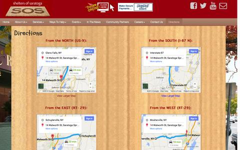 Screenshot of Maps & Directions Page sheltersofsaratoga.com - Directions - Shelters of Saratoga - captured Oct. 9, 2014