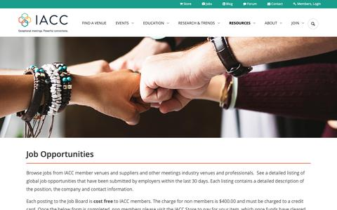 Screenshot of Jobs Page iacconline.org - Meetings Industry Venues Careers & Jobs | IACC Conference Centres - captured Oct. 12, 2018