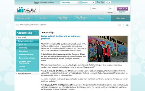 Screenshot of Team Page molinahealthcare.com - Leadership Team at Molina Healthcare - captured Dec. 15, 2016