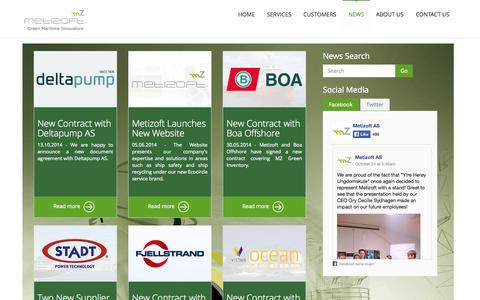 Screenshot of Press Page metizoft.com - News    Metizoft - captured Oct. 27, 2014