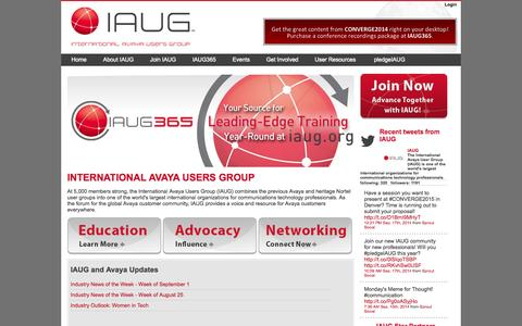 Screenshot of Home Page iaug.org - International Avaya Users Group : IAUG - International Avaya Users Group - captured Sept. 23, 2014