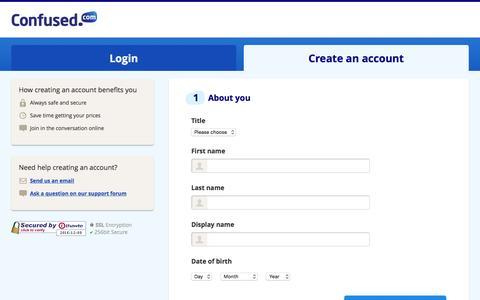 Create account   Confused.com