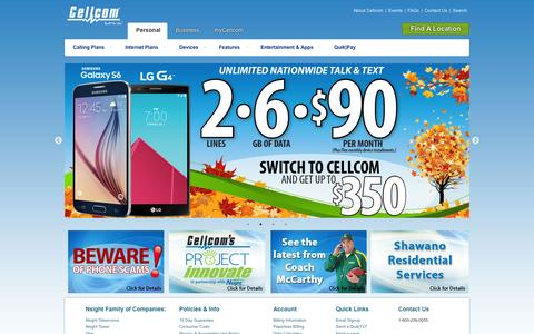 Screenshot of Home Page cellcom.com - Cellcom is a wireless communications company dedicated to hometown values and outstanding customer service, Cellcom - Built for You - captured Oct. 22, 2015