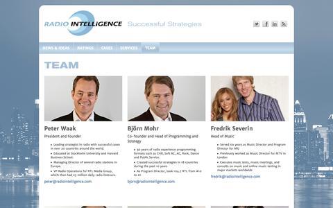 Screenshot of Team Page radiointelligence.com - TEAM | Radio Intelligence - captured Oct. 7, 2014