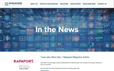 Screenshot of Press Page spacecode.com - Spacecode Media Center- In the News - captured Sept. 21, 2018