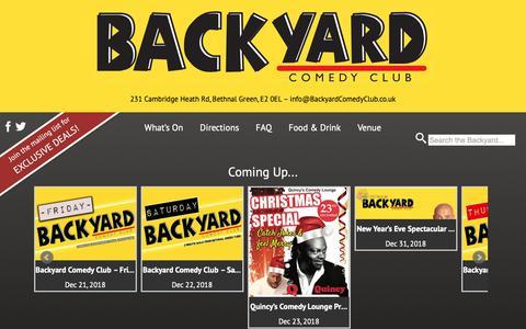 Screenshot of Home Page backyardcomedyclub.co.uk captured Dec. 21, 2018