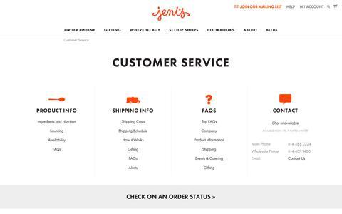 Screenshot of Support Page jenis.com - Customer Service - Jeni's Splendid Ice Creams - captured June 22, 2017