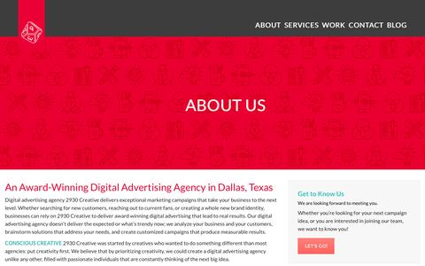 Screenshot of About Page 2930creative.com - Digital Advertising Agency | 2930 Creative - captured Feb. 16, 2016
