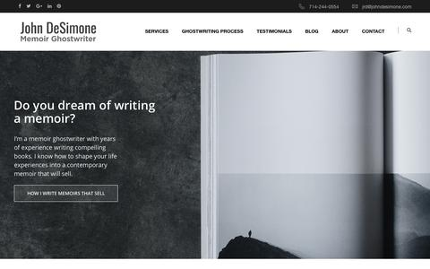 Screenshot of Home Page johndesimone.com - Memoir Ghostwriter - John Desimone - captured Nov. 18, 2018