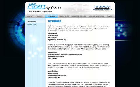 Screenshot of Testimonials Page librasystems.com - Libra Systems - Testimonials - captured Oct. 2, 2014