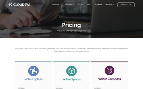 Screenshot of Pricing Page cloud4wi.com - Pricing - See what products we offer - Cloud4Wi - captured Feb. 8, 2018