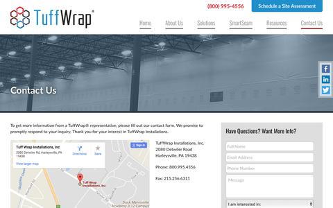 Screenshot of Contact Page tuffwrap.com - Contact TuffWrap Installations | Plastic Wall Installations for Construction - captured Nov. 12, 2017