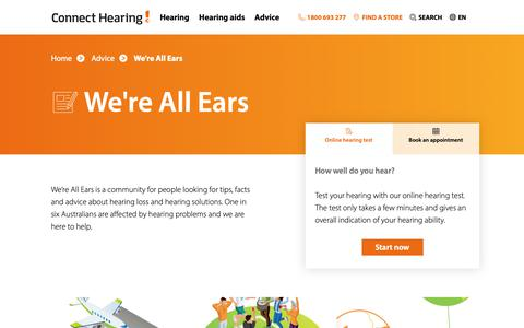 Screenshot of Blog connecthearing.com.au - We're All Ears Blog   Connect Hearing - captured Dec. 8, 2018