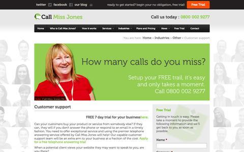 Screenshot of Support Page callmissjones.co.uk - Telephone Answering Service - Customer support - captured Oct. 1, 2014