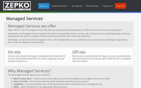 Screenshot of Services Page zepko.com - Managed Services | Zepko - captured Oct. 9, 2014