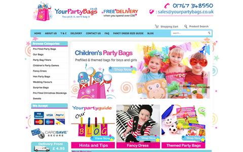 Screenshot of Home Page yourpartybags.co.uk - Party Bags for Kids | Pre Filled Party Bags | Kids Party Bags - captured Sept. 30, 2014