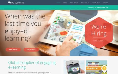Screenshot of Home Page bygsystems.com - BYG Systems - e-learning, elearning products, e-learning software - captured July 11, 2019