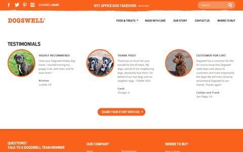 Screenshot of Testimonials Page dogswell.com - Dogswell   Testimonials - captured Oct. 29, 2014