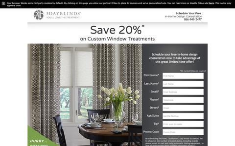 Screenshot of Landing Page 3dayblinds.com - 3 Day Blinds Landing Page - captured Aug. 17, 2016