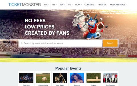 Screenshot of Home Page ticketmonster.com - Tickets | Ticket Monster - Sports, Concerts, Theater Events - captured Sept. 23, 2014