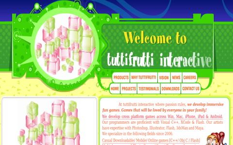 Screenshot of Home Page tuttifrutti.in - tuttifrutti interactive - captured Oct. 7, 2014