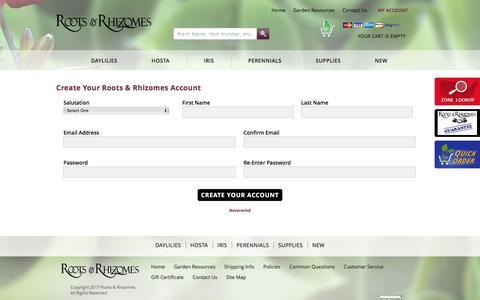 Screenshot of Signup Page rootsrhizomes.com - Account Signup   Roots & Rhizomes - captured April 10, 2017