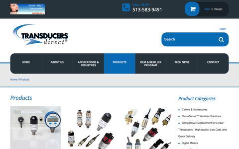 Screenshot of Products Page transducersdirect.com - Pressure Transducers, Pressure Switches, Melt Pressure Transducers - captured Nov. 8, 2017