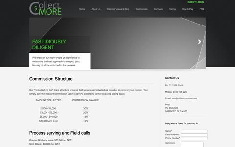 Screenshot of Pricing Page collectmore.com.au - CollectMORE - Pricing - captured Oct. 8, 2014