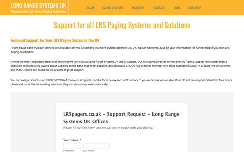 Screenshot of Support Page lrspagers.co.uk - Technical Support for all Products | LRS UK - captured Dec. 16, 2018