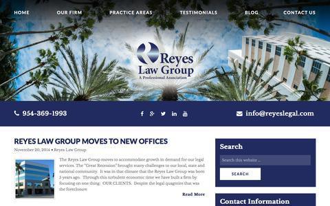 Screenshot of Press Page reyeslegal.com - News Archives - Reyes Law Group - captured Nov. 30, 2016