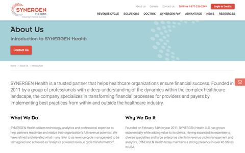 Screenshot of About Page synergenhealth.com - SYNERGEN - About Us - captured Sept. 15, 2019