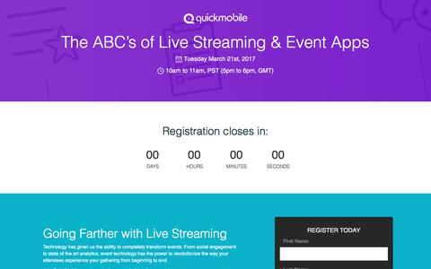 Screenshot of Landing Page quickmobile.com - The ABC's of Live Streaming & Event Apps - captured March 21, 2017