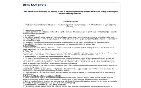 Screenshot of Terms Page the-driving-instructor.co.uk - Terms & Conditions - The Driving Instructor - captured Nov. 5, 2014