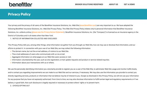 Screenshot of About Page Privacy Page benefitter.com - Benefitter - Privacy Policy - captured Nov. 4, 2018