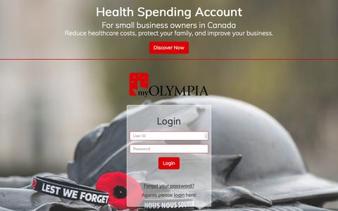 Screenshot of Signup Page Login Page olympiabenefits.com - Health Spending Account - Client Login - captured Nov. 13, 2017