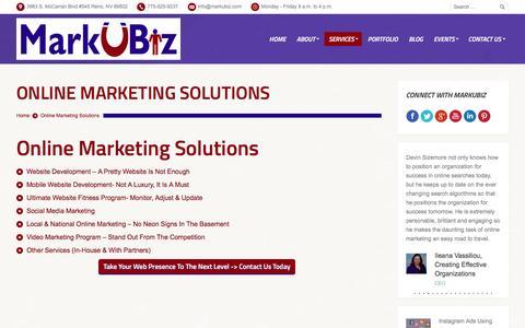 Screenshot of Services Page markubiz.com - MarkUBiz.com | Online Marketing Services Reno | Web Presence Reno | MarkUBiz - captured March 2, 2016