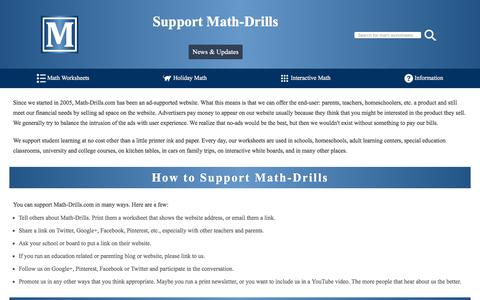 Screenshot of Support Page math-drills.com - Support Math-Drills - captured Sept. 23, 2018