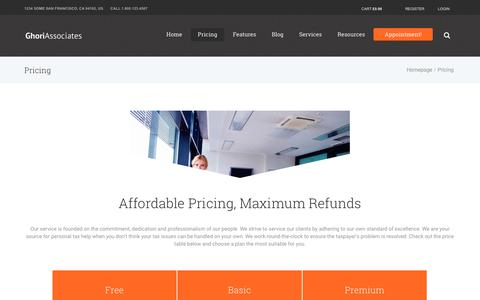 Screenshot of Pricing Page ghoriassociates.com - Pricing – Ghori Associates - captured July 18, 2018