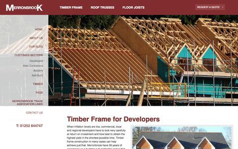 Screenshot of Developers Page merronbrook.co.uk - For Maximum Return On Investment, choose Timber Frame - Merronbrook - captured Oct. 27, 2014