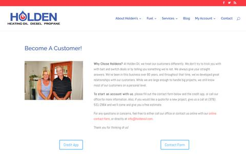 Screenshot of Signup Page holdenoil.com - Become A Customer! | Holden Oil - captured July 20, 2018