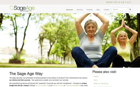 Screenshot of About Page sageagestrategies.com - The Sage Age Way | Sage Age Strategies - captured Dec. 4, 2015