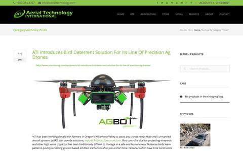 Screenshot of Press Page aerialtechnology.com - Press - captured Feb. 5, 2016